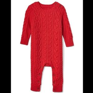 Baby GAP cable knit red jumper in organic cotton